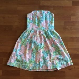 Lilly Pulitzer Lottie Strapless Skater Lace Dress